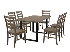 7-Piece Rustic Farmhouse Wood Kitchen Dining Set - Aged Grey