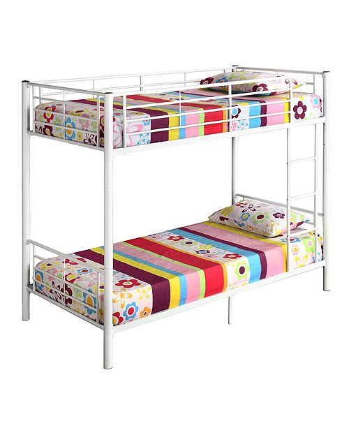 Walker Edison Premium Metal Twin over Twin Bunk Bed - White
