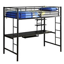 Premium Metal Twin Loft Bed with Wood Workstation- Black