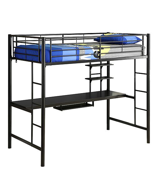 Walker Edison Premium Metal Twin Loft Bed with Wood Workstation- Black