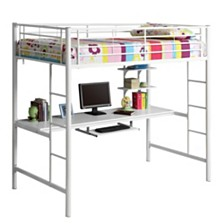 Premium Metal Twin Loft Bed with Wood Workstation- White