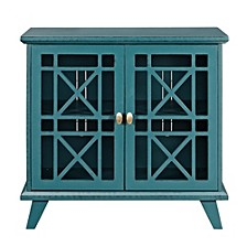 "32"" Fretwork Accent Storage Console - Blue"