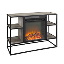 """40"""" Rustic Metal and Wood Open-Shelf Fireplace TV Stand Storage Console - Grey Wash"""