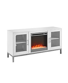 """52"""" Avenue Wood Fireplace TV Console with Metal Legs - White"""