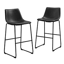 "30"" Industrial Faux Leather Barstools, set of 2 - Black"