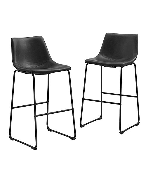 Sensational 30 Industrial Faux Leather Barstools Set Of 2 Black Pabps2019 Chair Design Images Pabps2019Com