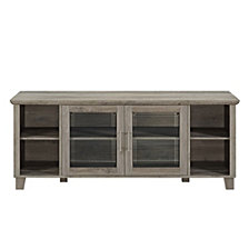 "58"" Classic Traditional Rustic TV Stand Console with Middle Doors and Shelving - Grey Wash"