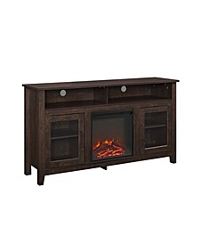 "58"" Wood Highboy Fireplace Media TV Stand Console"