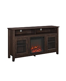 "58"" Wood Highboy Fireplace Media TV Stand Console - Traditional Brown"