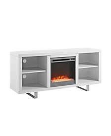 "58"" Simple Modern Fireplace TV Console - White"
