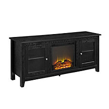 "58"" Wood Fireplace Media TV Stand Console - Black"