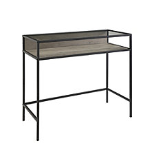 "35"" Urban Industrial Metal and Wood Compact Desk with Smoke Glass and a Shelf - Grey Wash"