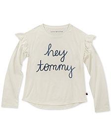 Tommy Hilfiger Big Girls Sequin Ruffle-Trim T-Shirt