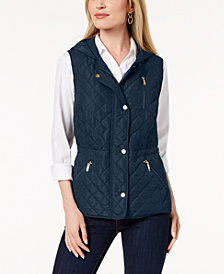 Charter Club Quilted Hooded Vest, Created for Macy's