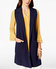 Charter Club Long Notch-Collar Sweater Vest, Created for Macy's
