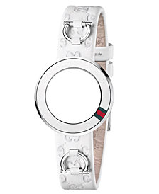 Gucci Women's U-Play White Guccissima Leather Watch Band Strap and Bezel 27mm YFA50031