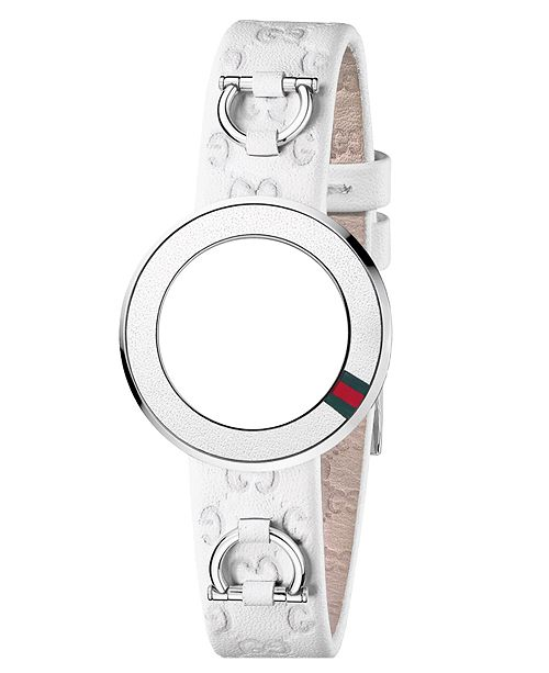 5bd76c7d00e9c Gucci Women's U-Play White Guccissima Leather Watch Band Strap ...