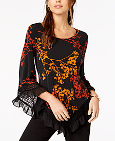 Alfani Printed Lace-Trim Top, Created for Macy's