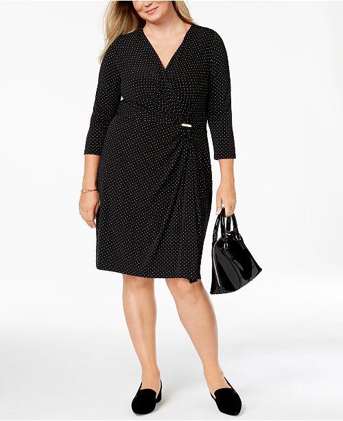 ecb219b4b86 Charter Club Plus Size Dot-Print Faux Wrap Dress