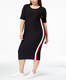 Planet Gold Trendy Plus Size Varsity-Stripe Midi Dress