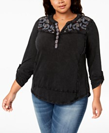 Style & Co Plus Size Cotton Embroidered Distressed Top, Created for Macy's