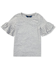 Polo Ralph Lauren Toddler Girls Ruffled-Sleeve Crew-Neck T-Shirt