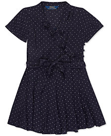 Polo Ralph Lauren Little Girls Polka-Dot Ruffled Crepe Dress