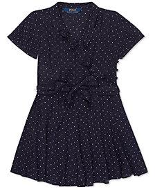 Polo Ralph Lauren Little Girls Polka-Dot Ruffled Crepe Dress