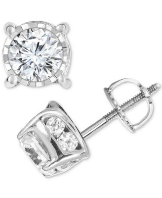 White Gold Finish Diamond Solitaire Earring Stud 1//4 Ct