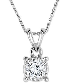 TruMiracle® Diamond Bezel Pendant Necklace in 14k White Gold (1/4 ct. t.w.)