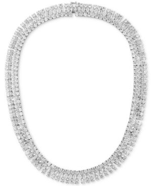 "Tiara Cubic Zirconia Cleopatra 18"" Collar Necklace in Sterling Silver"