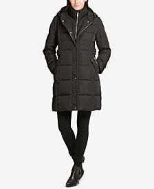DKNY Petite Hooded Faux-Leather-Trim Puffer Coat