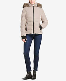 DKNY Faux Fur Hooded Puffer Jacket, Created for Macy's
