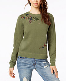 Lucky Brand Cotton Flower-Embroidered Sweatshirt