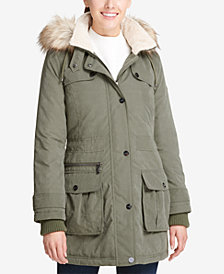 DKNY Faux-Fur-Trim Fleece-Lined Anorak Coat
