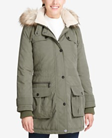 DKNY Faux-Fur-Trim Hooded Anorak