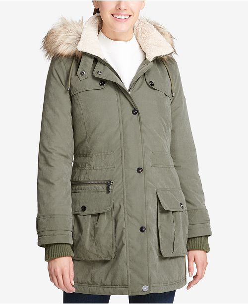 faaeed850 DKNY Faux-Fur-Trim Fleece-Lined Anorak Coat & Reviews - Coats ...