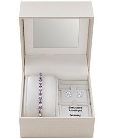 Simulated Amethyst Slider Bracelet & Cubic Zirconia Stud Earrings Set In Fine Silver-Plate, February Birthstone