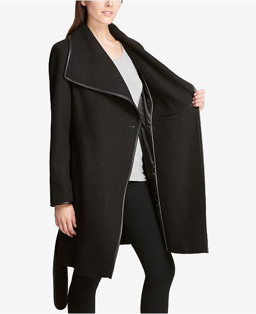 e9c62b0d82418 ... DKNY Petite Faux-Leather-Trim Wrap Coat