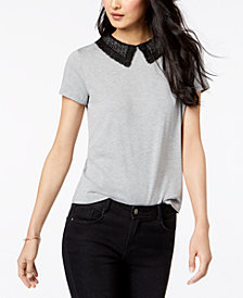 Maison Jules Lace-Collar Top, Created for Macy's