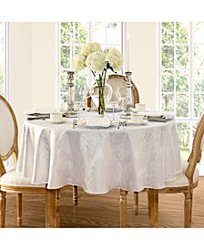 "Elrene Barcelona Damask White 60"" x 84"" Oval Tablecloth"