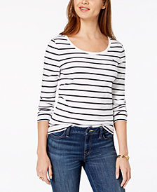 Tommy Hilfiger Striped Flag-Logo T-Shirt, Created for Macy's