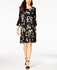 Connected Petite Bell-Sleeve Floral Dress