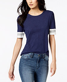 Maison Jules Puffed-Sleeve Varsity-Stripe Knit Top, Created for Macy's