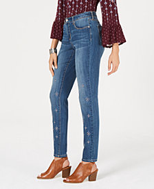 Style & Co Embroidered Skinny Jeans, Created for Macy's
