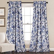 "Cynthia Jacobean Room Darkening 52"" x 84"" Window Curtain Set"