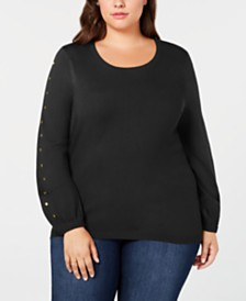 One A Plus Size Stud-Sleeve Sweater