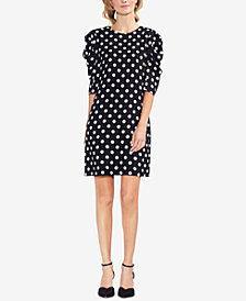 Vince Camuto Dot-Print Bubble-Sleeve Dress