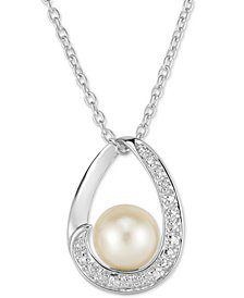 "Cultured Freshwater Pearl (8mm) & Diamond Accent 18"" Pendant Necklace in Sterling Silver"
