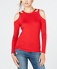 I.N.C. Cutout Long-Sleeve Top, Created for Macy's